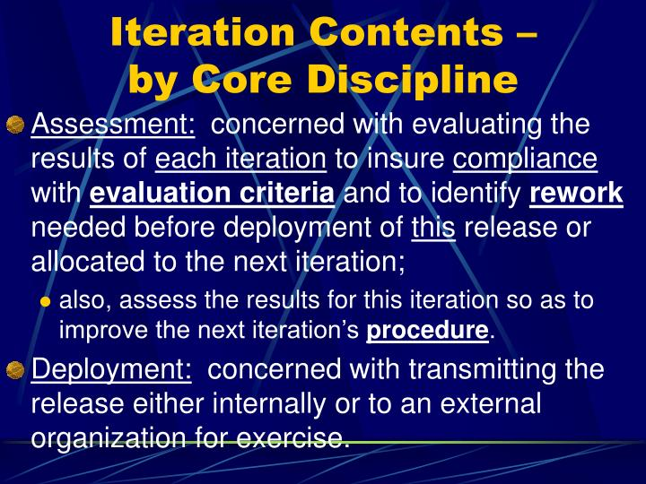 Iteration Contents –     by Core Discipline