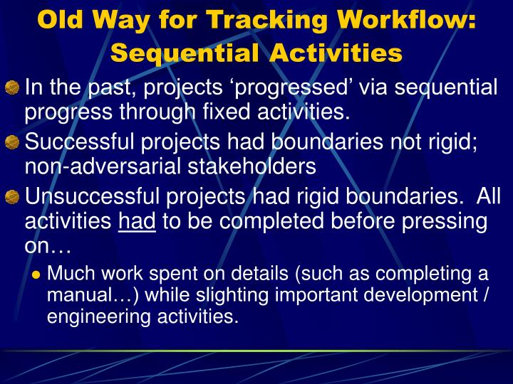 Old Way for Tracking Workflow:
