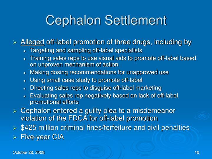 Cephalon Settlement
