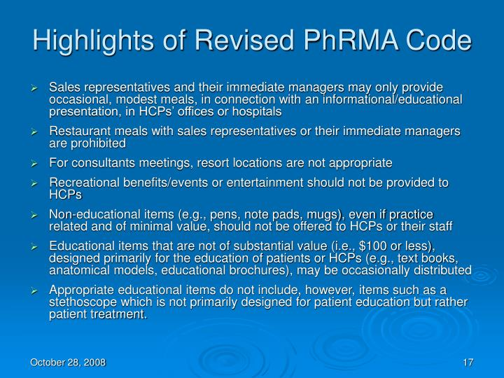 Highlights of Revised PhRMA Code