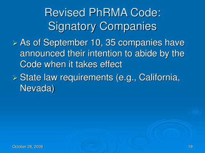Revised PhRMA Code: