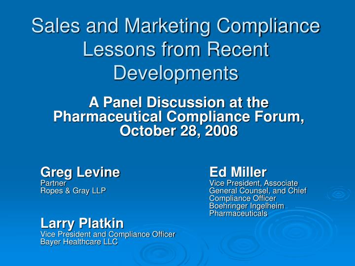 Sales and Marketing Compliance