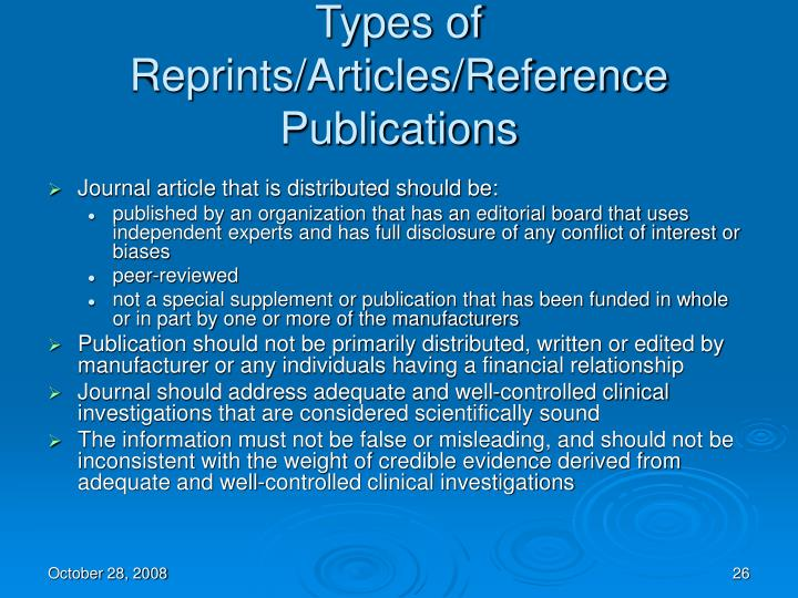 Types of Reprints/Articles/Reference Publications