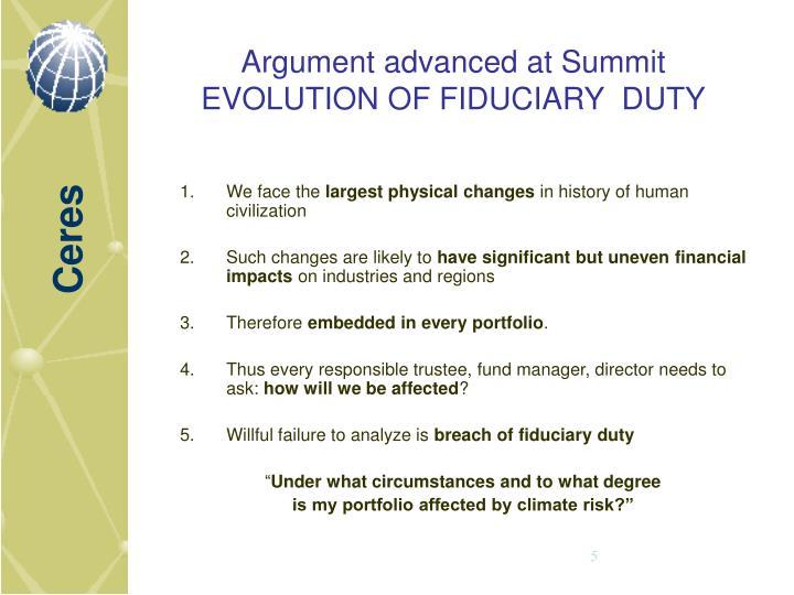 Argument advanced at Summit