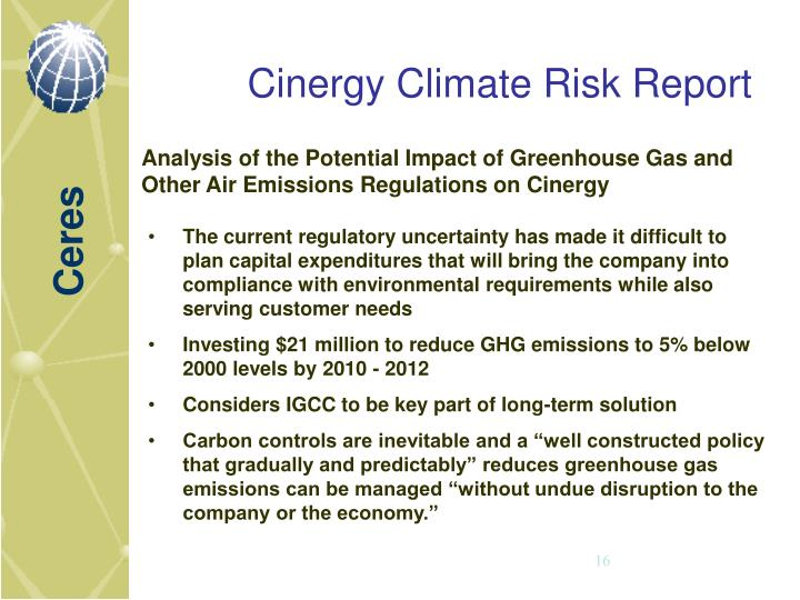 Cinergy Climate Risk Report