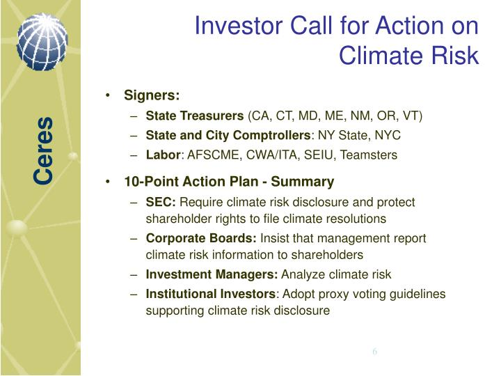 Investor Call for Action on Climate Risk