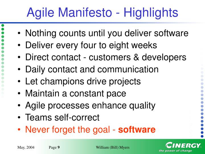 Agile Manifesto - Highlights