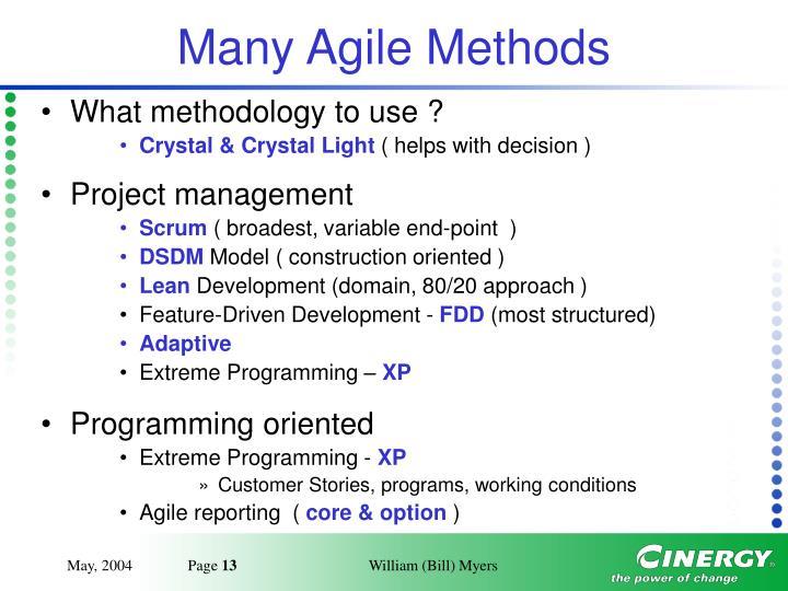 Many Agile Methods