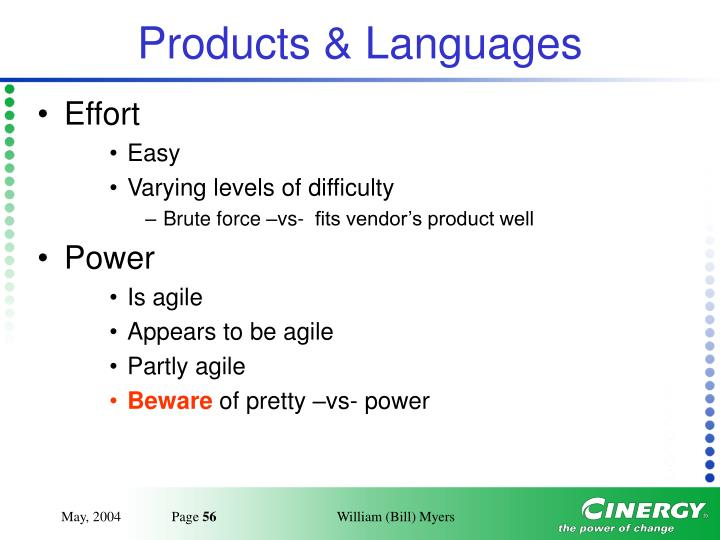 Products & Languages