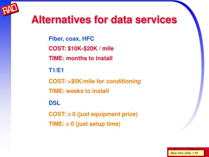 Alternatives for data services
