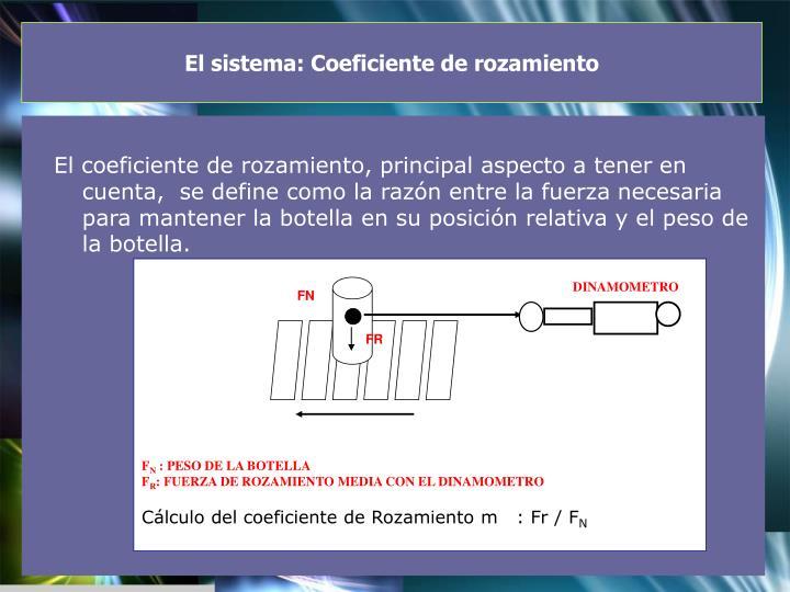 El sistema: Coeficiente de rozamiento