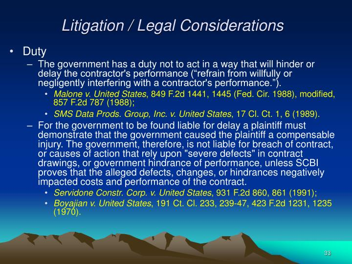 Litigation / Legal Considerations