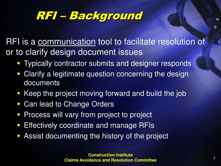 RFI – Background