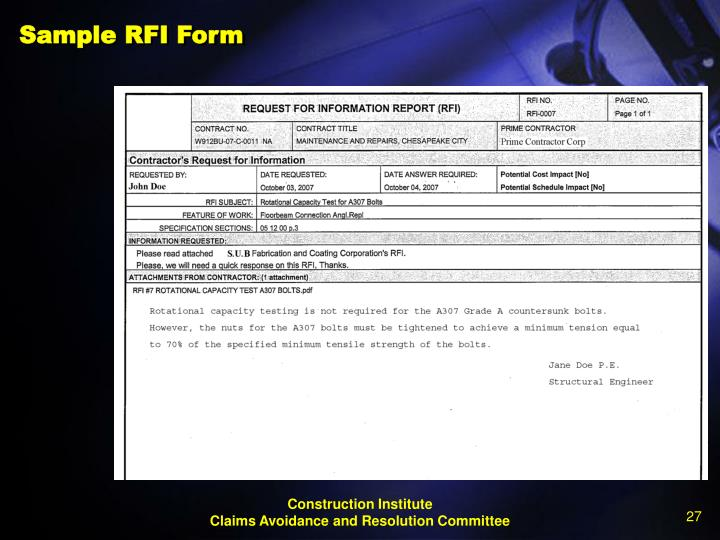 Sample RFI Form