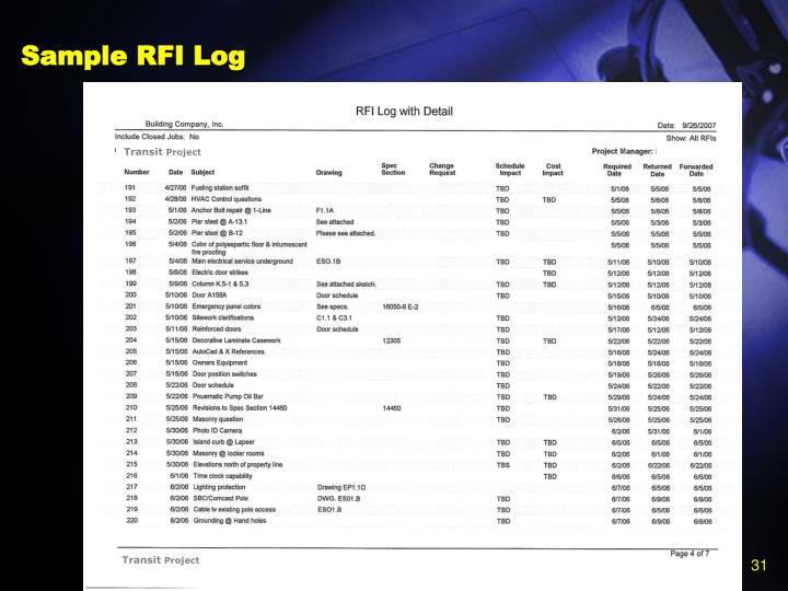Sample RFI Log