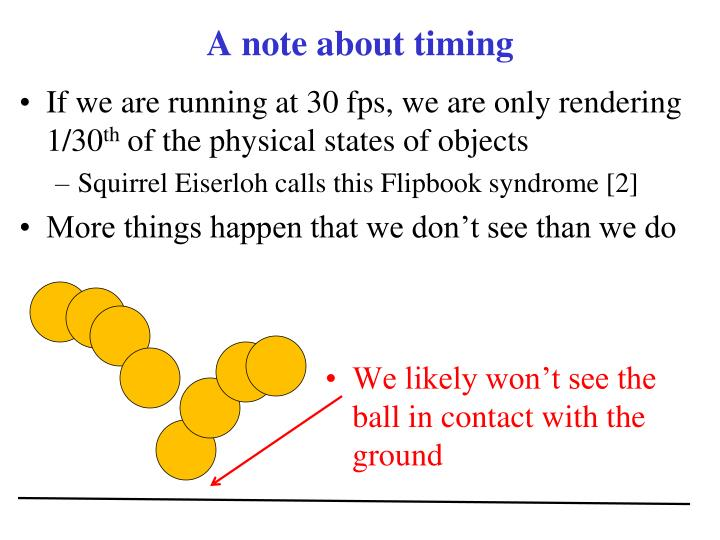 A note about timing