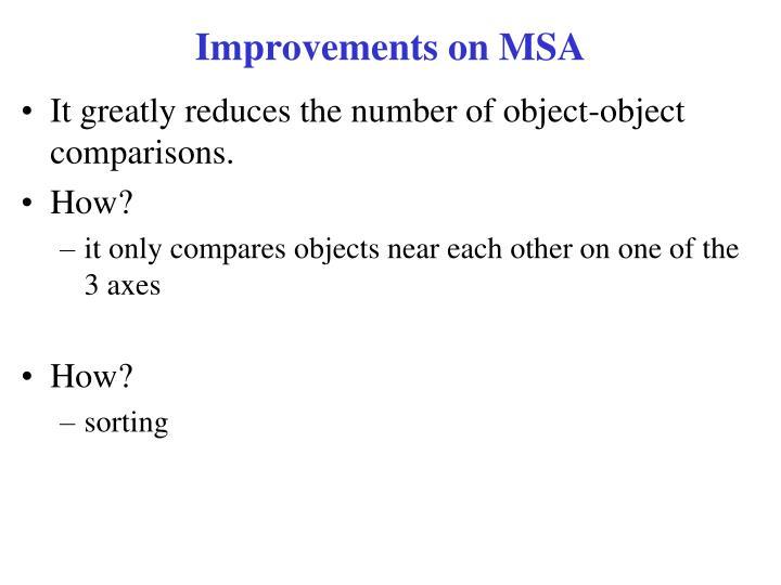 Improvements on MSA