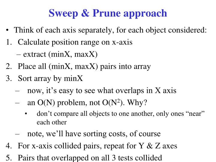 Sweep & Prune approach