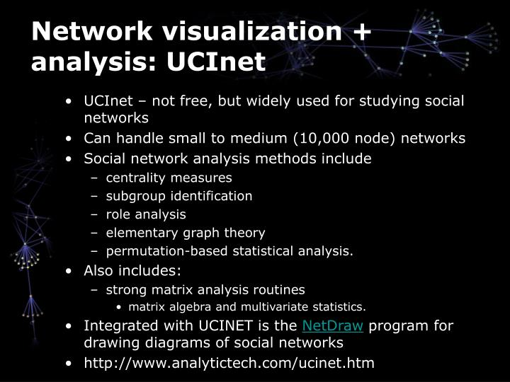 Network visualization + analysis: UCInet