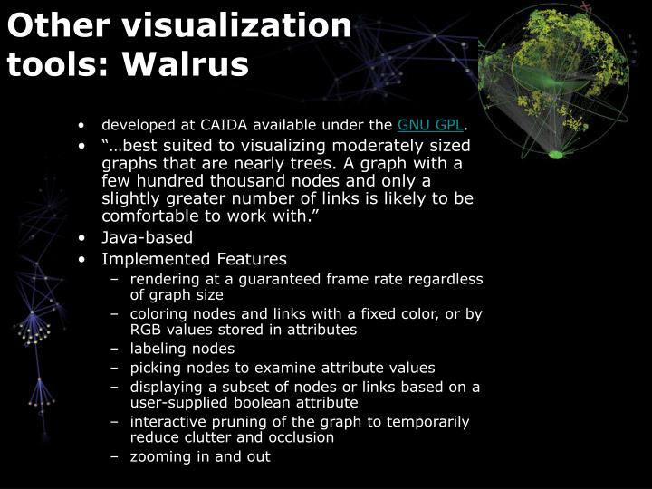 Other visualization tools: Walrus