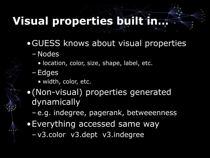 Visual properties built in…