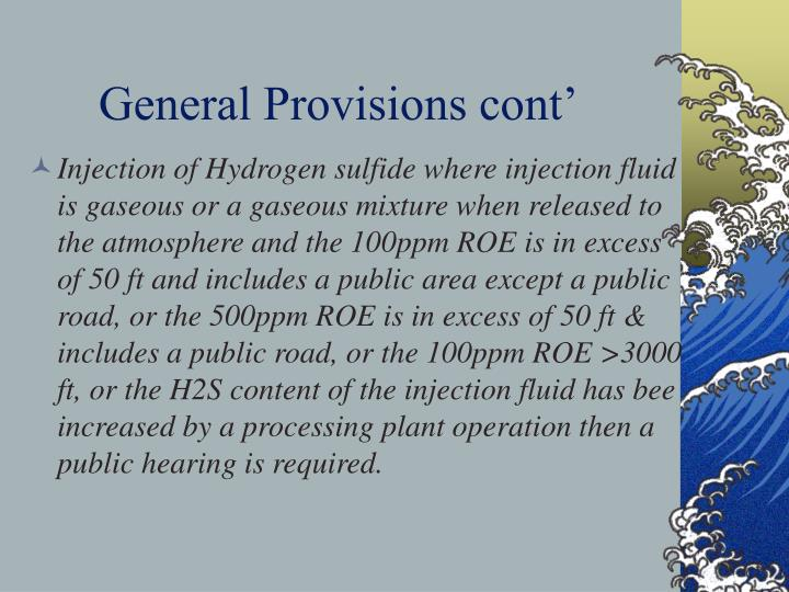 General Provisions cont'