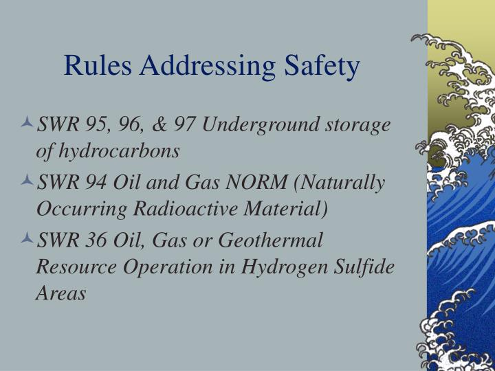 Rules Addressing Safety