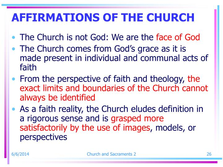 AFFIRMATIONS OF THE CHURCH