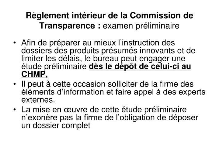 Règlement intérieur de la Commission de Transparence :
