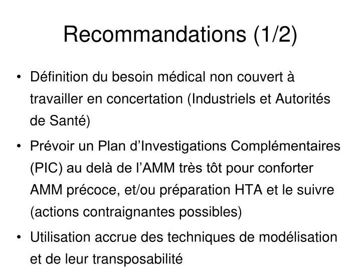 Recommandations (1/2)
