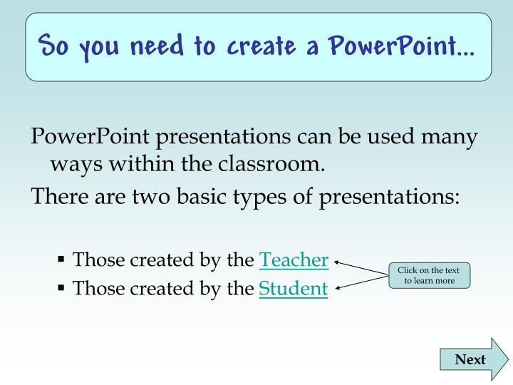 So you need to create a powerpoint