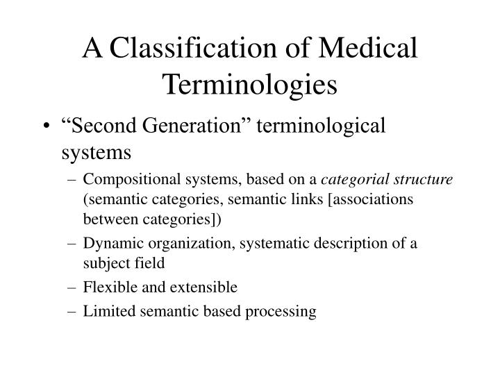 A Classification of Medical Terminologies