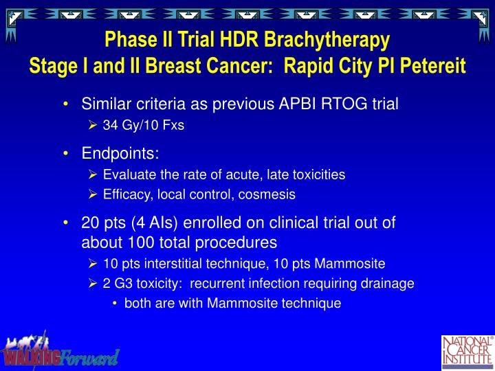 brachytherapy criteria breast cancer