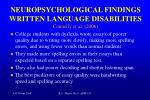 neuropsychological findings written language disabilities connelly et al 2006