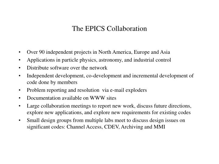 The EPICS Collaboration