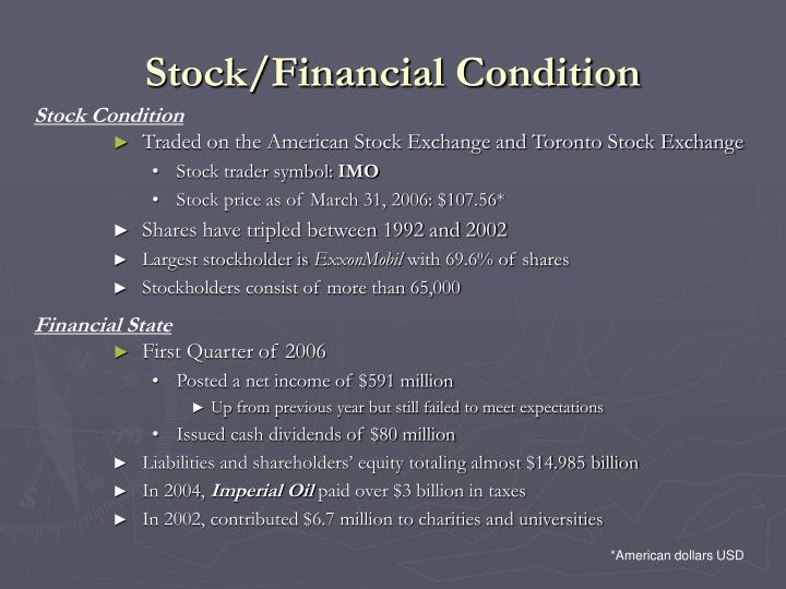 Stock/Financial Condition