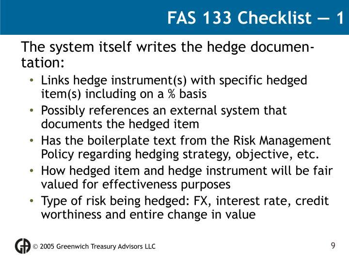 FAS 133 Checklist — 1