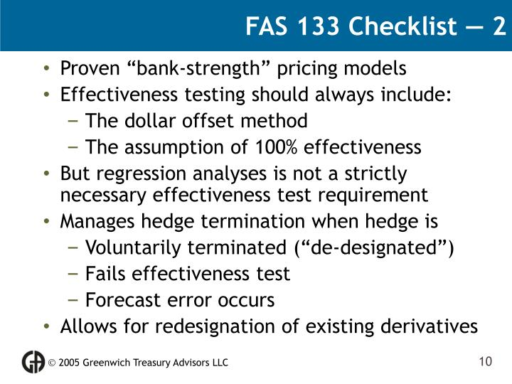 FAS 133 Checklist — 2