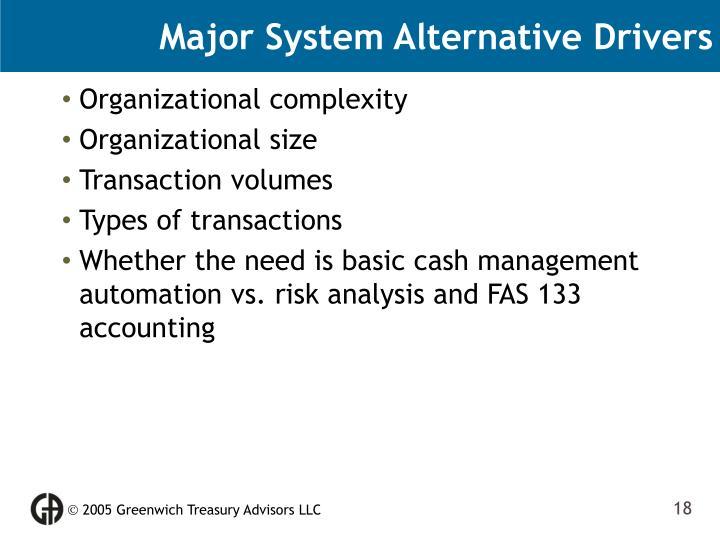 Major System Alternative Drivers