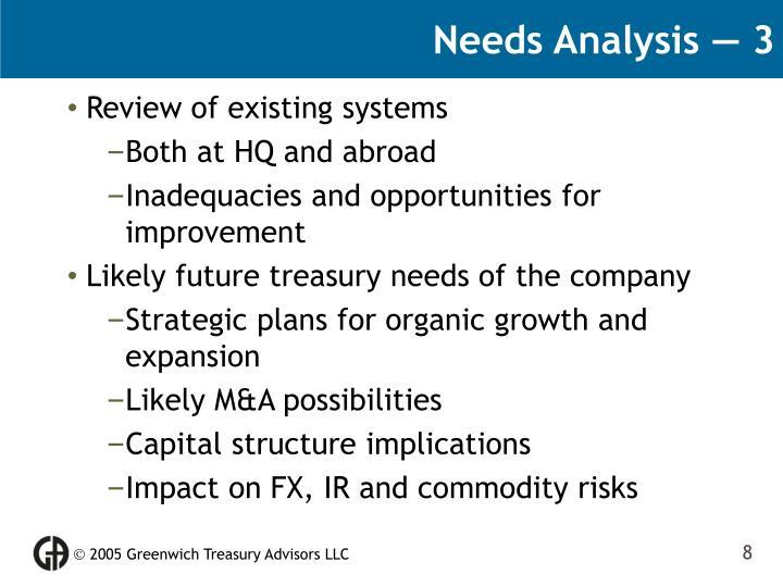 Needs Analysis — 3