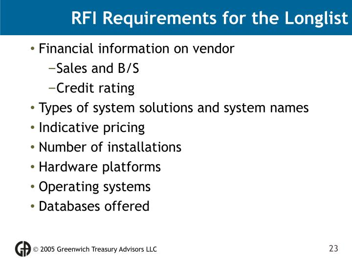 RFI Requirements for the Longlist