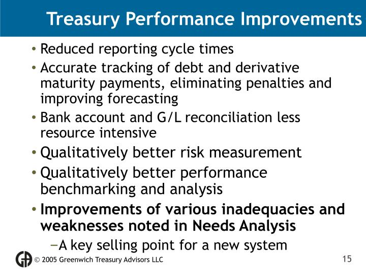 Treasury Performance Improvements