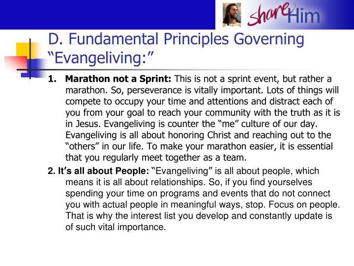 """D. Fundamental Principles Governing """"Evangeliving:"""""""