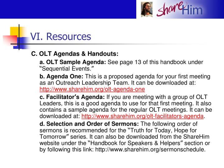 VI. Resources
