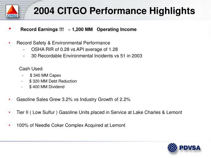 2004 CITGO Performance Highlights