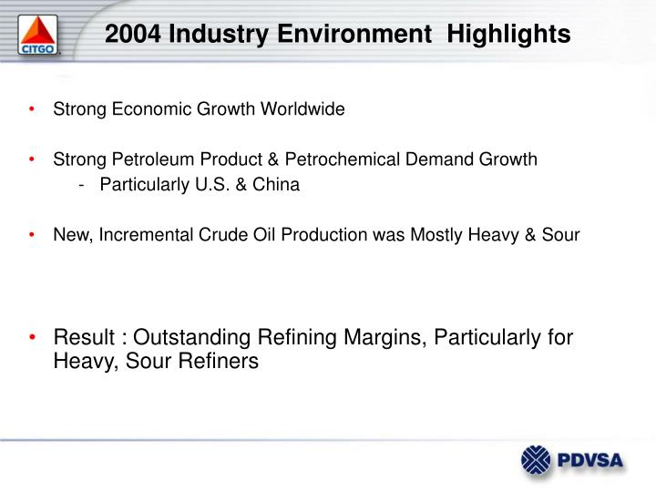 2004 Industry Environment  Highlights