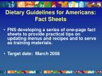 dietary guidelines for americans fact sheets
