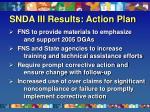 snda iii results action plan