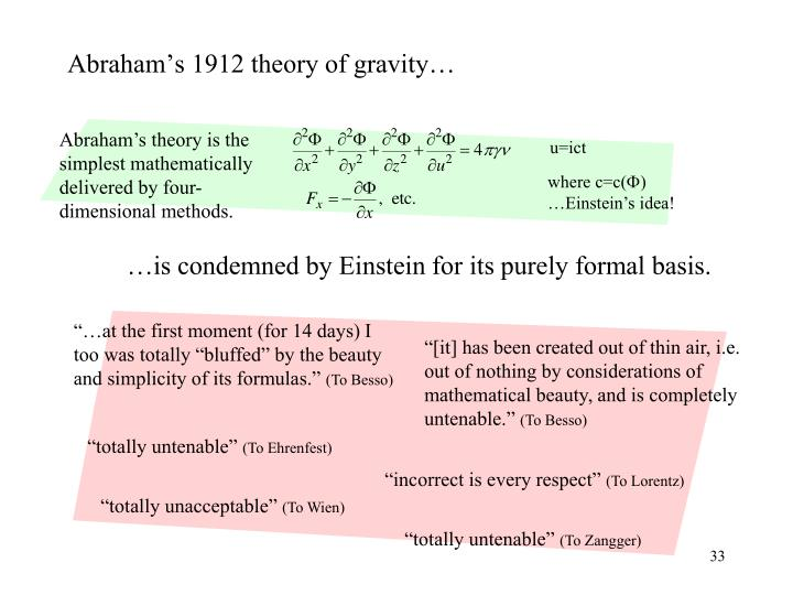 …is condemned by Einstein for its purely formal basis.
