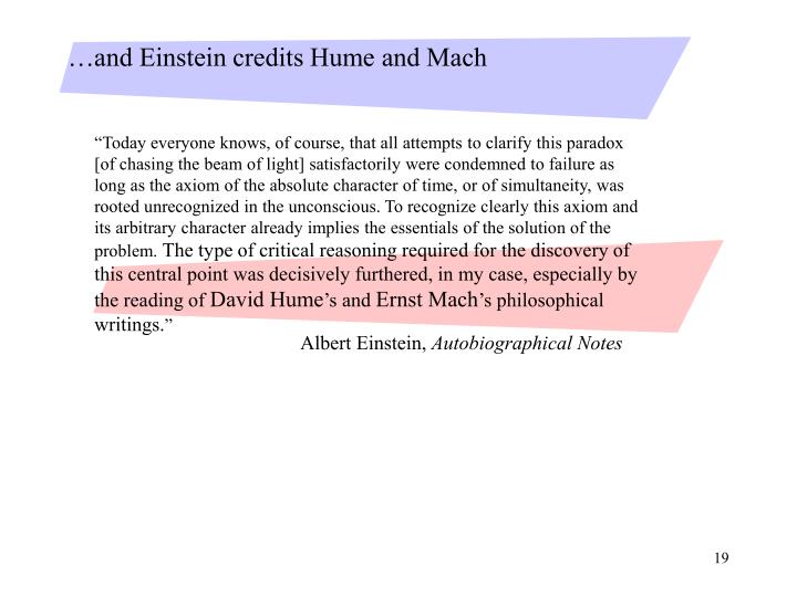 …and Einstein credits Hume and Mach